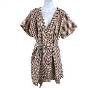 Asos Wrap Dress Plaid Multicolored Polyester Women